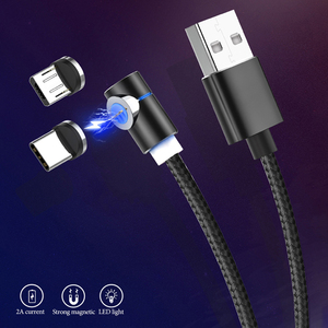 1M2A Magnetic Micro USB Data Cable For Xiaomi Redmi K30 Type C Android Plug Cable For Huawei Aluminum Elbow Magnetic Charg Cable