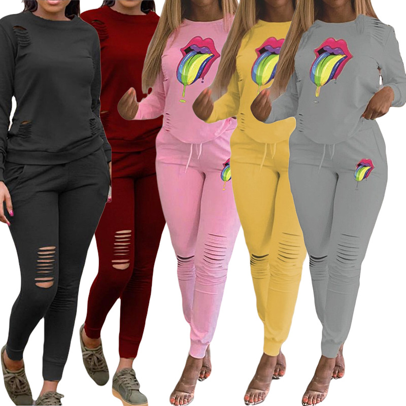 2019 Women Sets Women Red Blue Black 2 Pcs Sweatsuit Cotton Summer Pullover Suits Women Outfit Two Piece Tracksuits