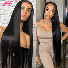 Wig Lace Closure Lace-Front Straight Human-Hair Brazilian Lanqi 34 Long for Women 4x4