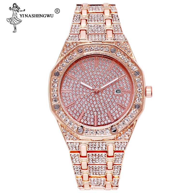 16MM Men Diamond Watch Quartz Gold Hip Hop Luxury Brand Wristband Watches With Micropave CZ Stainless Steel Watch Clock Relogio