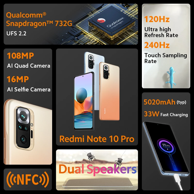 Global Version Xiaomi Redmi Note 10 Pro Mobile Phone 8GB 128GB Snapdragon 732G Octa Core 108MP Quad Camera 5020mAh Battery 3