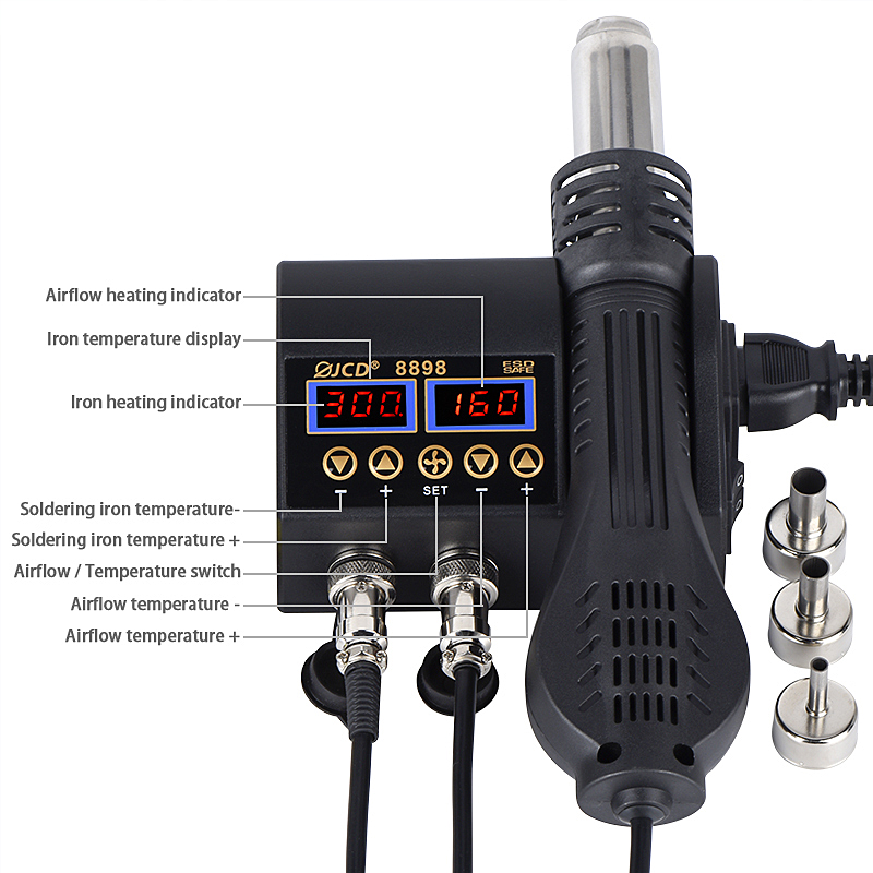 Power Double Digital 8898 Tools Iron BGA LCD Hot With Welding Display Gun Repair  SMD JCD Control Station Soldering Air Switch