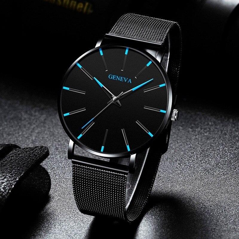New Business Men's Watch Black Quartz Alloy Mesh Strap Ultra Thin Universal Male Casual Sports Wrist Watch Relojes Para Hombre