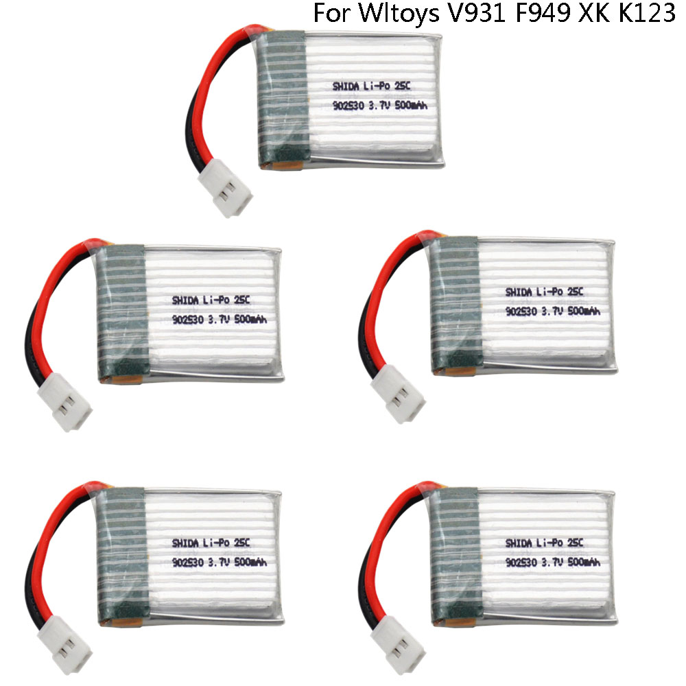 5PCS 3.7V <font><b>500mAh</b></font> 902530 25C LiPo <font><b>Battery</b></font> For Wltoys V931 F949 XK K123 6Ch RC Helicopter high quality lipo <font><b>battery</b></font> 1S <font><b>3.7</b></font> V image