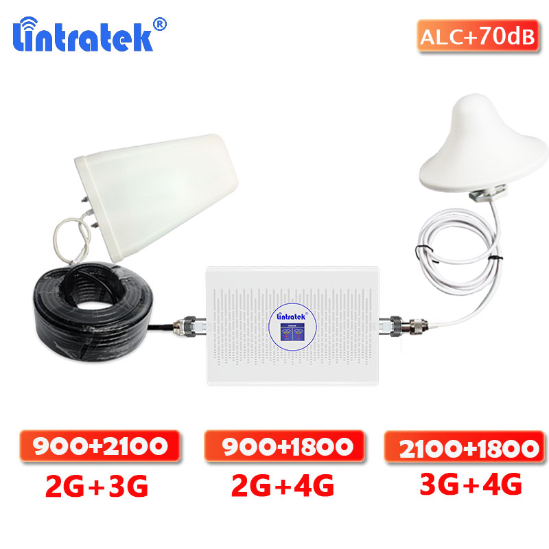 Lintratek GSM 900 Dual Band Signal Booster 2G 3G / 3G 4G Singal Booster Amplifier Cellular WCDMA 2100  DCS LTE 1800 Repeater Kit