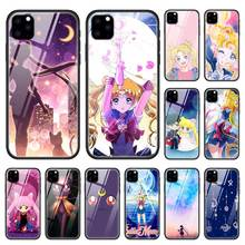Sailor Moon Case for Apple iphone 11 Pro XR XS Max X 7 8 6 6S Plus Tempered Glass + Black Silicone Anime Girl Phone Cover Coque