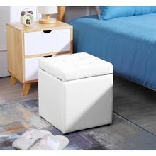 Multifunctional Leather Seat Simple Practical Square Stool Storage Box Shape Home Office Furniture Living Room Footstool HWC