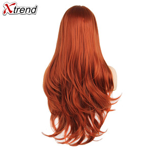 Image 2 - Xtrend Synthetic Lace Front Wig Womens Wigs For Black Women With Body Hair blonde Pink Ginger 60 Black Grey Purple Copper Red