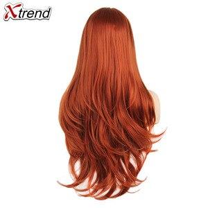 Image 2 - Xtrend sentetik dantel ön peruk kadın peruk siyah kadınlar için vücut saç sarışın pembe zencefil 60 siyah gri mor bakır kırmızı