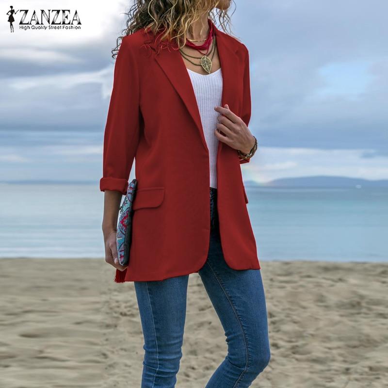 Women Turn-down Collar Blazers ZANZEA 2020 Office Lady Long Sleev Business Blazer Female Coats Jackets Outwear Womens Blazers