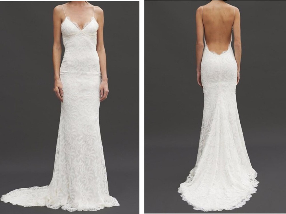 2018 Sexy Backless Mermaid Vestido De Noiva Lace Spaghetti Garden Beach Sheer Summer Bridal Gown Mother Of The Bride Dresses