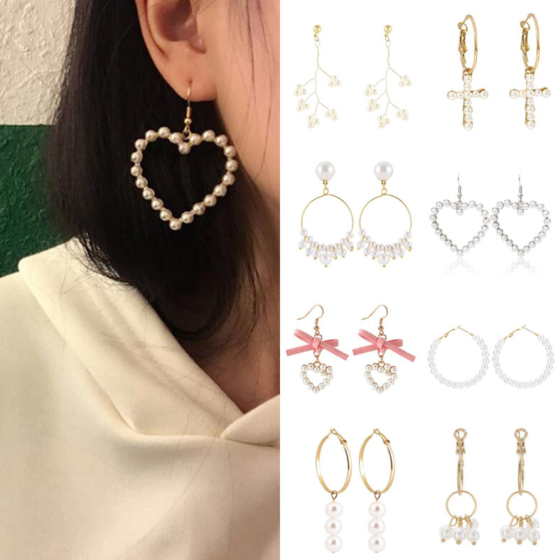 Earrings For Women Pearl Heart Cross Tassel Gold Silver Girls Fashion Gift Glamour Sexy Bow Drop Dangle Earrings Vintage