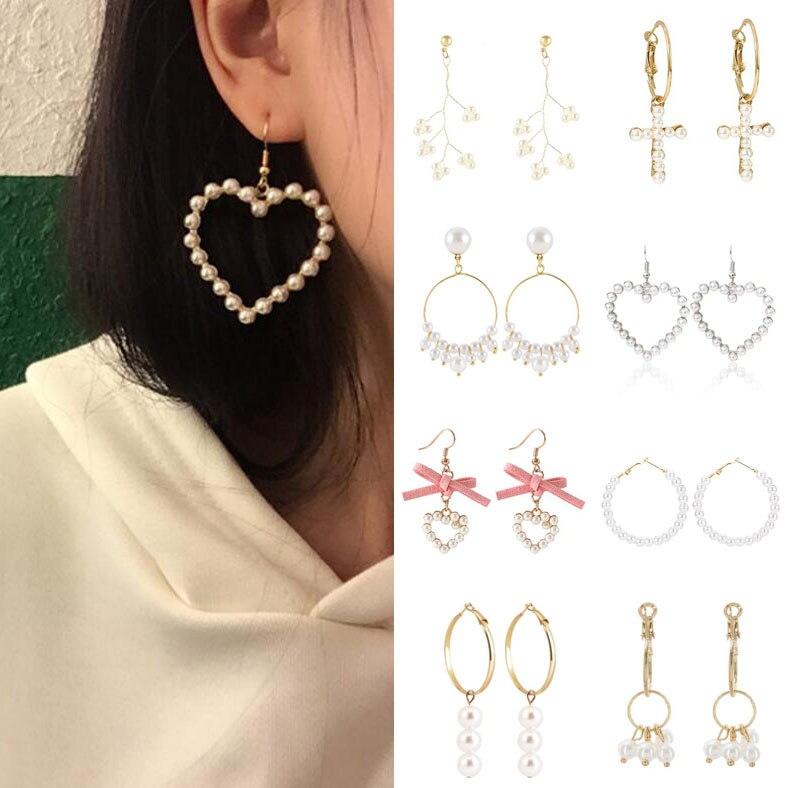 Earrings For Women Pearl Heart Cross Tassel Gold Silver Girls Fashion Gift Glamour Sexy Bow Drop Dangle Earrings Vintage(China)