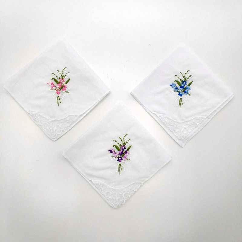 3 unids/set, pañuelo cuadrado blanco básico para mujer, pañuelo de bolsillo bordado Floral, Baberos de bebé de algodón con encaje de mariposa
