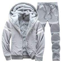 Causal Tracksuits Men Set hooded Thicken Fleece Hoodies + Sweatpant 2020 Winter Spring Sweatshirt Sportswear Male Letter Print