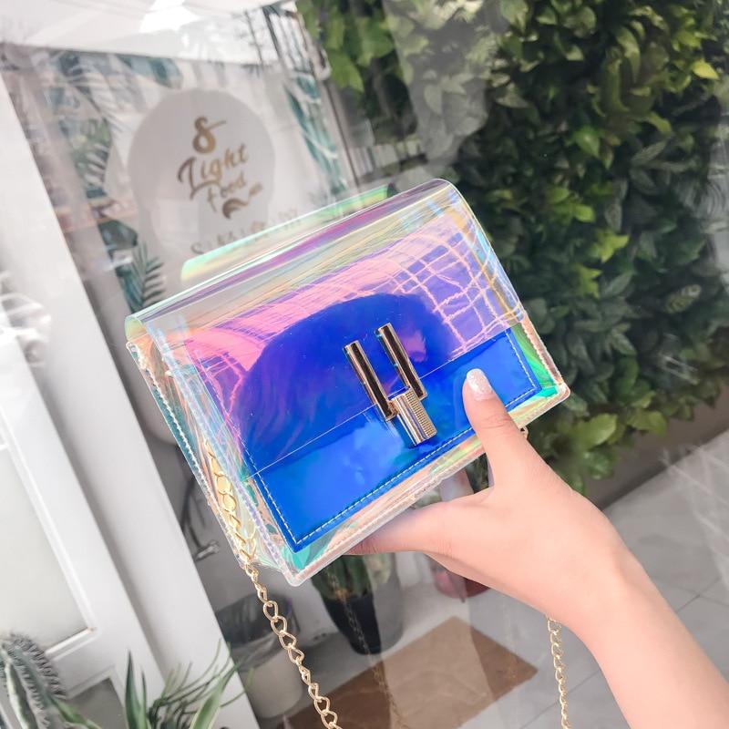 2020 Women Shoulder Bag Fashion Holographic Transparent Crossbody Bags Messenger Shoulder Chain Bag Female Fashion Clutch