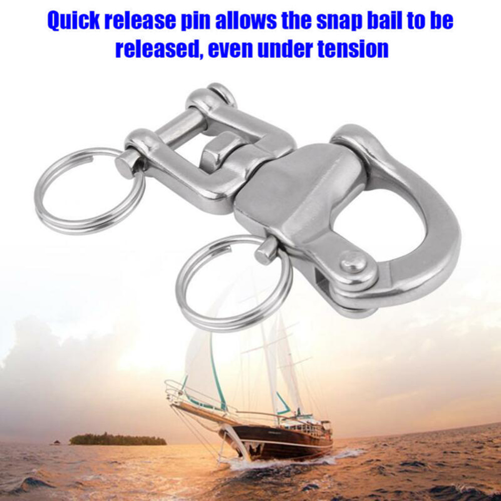 2-3/4-Inch Jaw Swivel Snap Shackle For Sailboat Spinnaker 70mm Made Of High Quality 316 Stainless Steel Swivel Shackle