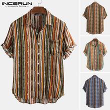 INCERUN Männer Hawaiian Shirt Striped Atmungsaktive Revers Kurzarm Camisa 2021 Sommer Casual Strand Streetwear Chic Bluse S-5XL