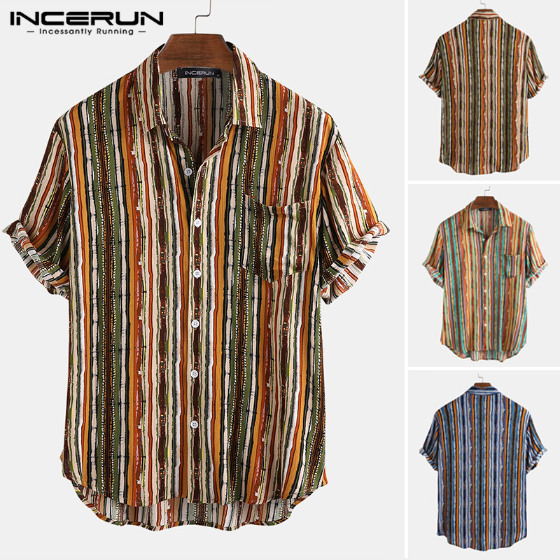 INCERUN Men Hawaiian Shirt Striped Breathable Lapel Short Sleeve Camisa 2020 Summer Casual Beach Streetwear Chic Blouse S-5XL