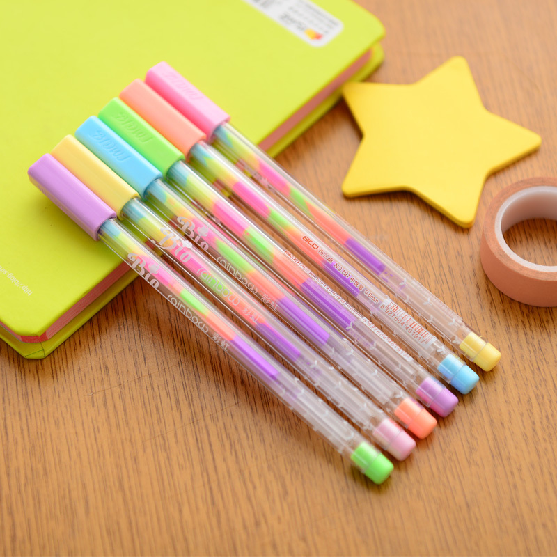 6pcs Rainbow Pen Ballpoint 0.8mm Multi Color Ink Roller Pens Fluorescence Highlighter For Black Paper Drawing Paint School A6555