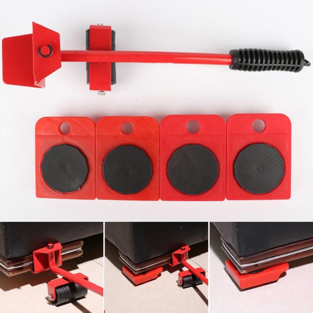 Elevador do trole casa e mover slides kit facilmente sistema para a mobília 5 pacotes conjunto de ferramentas de transporte levantador de móveis conjunto motor pesado