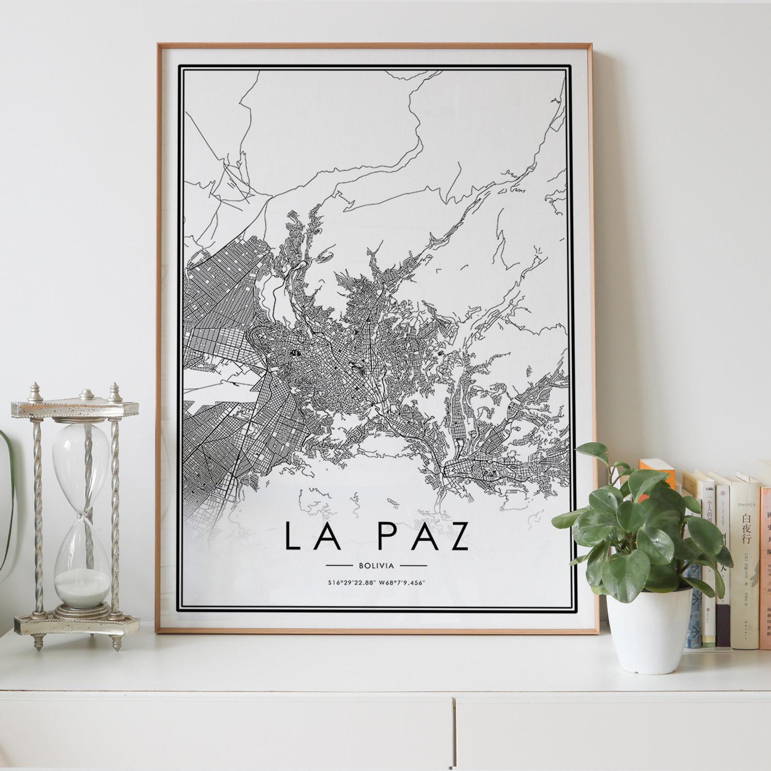 La paz mapa da cidade nordic sala de estar decoração cartaz da lona moderna casa decoração arte impressão pintura