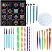 40pcs/set Mandala Dotting Pen Tools Set for DIY Painting Rock Stone with Stencils Template Brush Paint Tray
