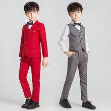 Костюм для мальчиков на свадьбу, Детские Красный Блейзер костюм 4/5 шт. костюм+ брюки+ жилет+ рубашка+ галстук-бабочка, Детский костюм с цветочным принтом Костюм для мальчиков Garcon Mariage смокинг для мальчиков