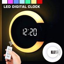 Mur LED horloge numérique Table horloge réveil miroir creux horloge murale moderne 3D Design veilleuse pour la maison salon décorations