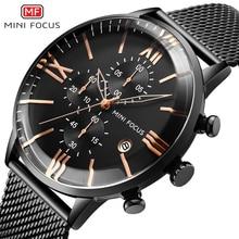 MINIFOCUS Luxury Brand Watch Men Waterproof Quartz Fashion Sport Clock Men's Wristwatch Black Stainless Steel Strap montre homme цена и фото