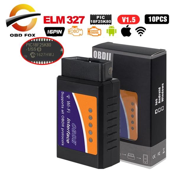 ELM 327 obd2 스캐너 pic18f25k80 wifi elm327 obd ii V1.5 차량 코드 리더 진단 블루투스 elm327 usb obd 케이블 10 개/몫