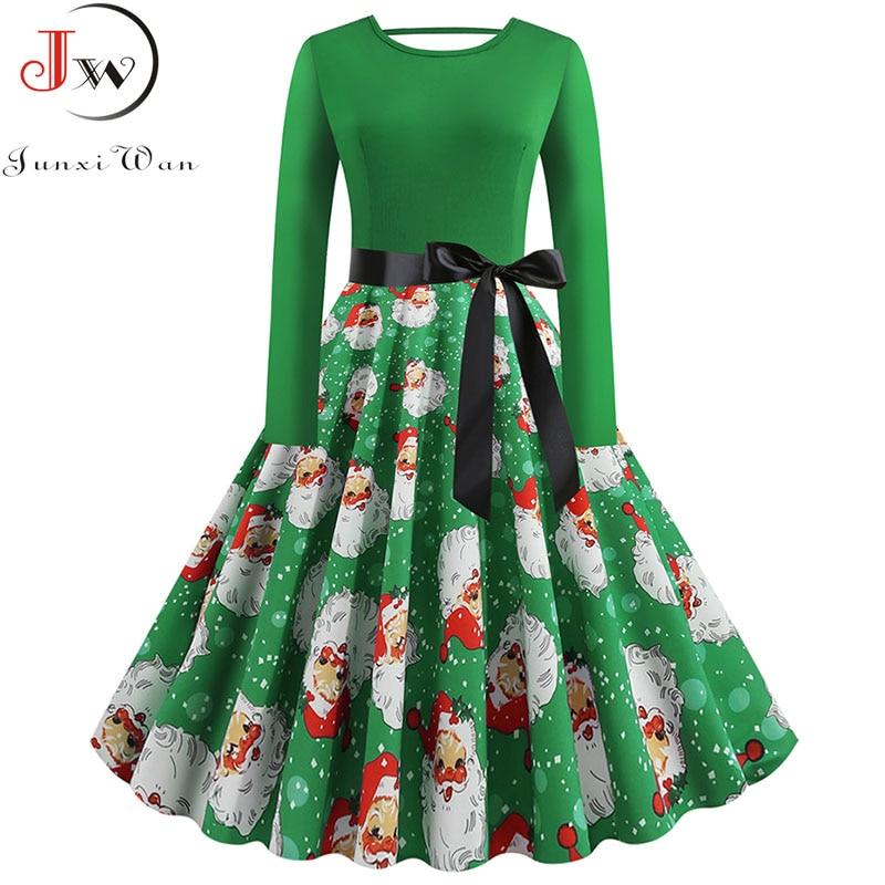 S~5XL Plus Size Christmas Dress Women Long Sleeve Winter Elegant Back Bowknot Vintage Xmas Party Dress Robe Femme Vestidos