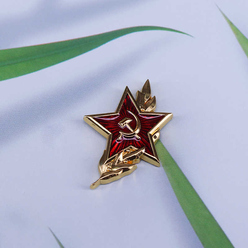 Vintage Merah Soviet Bintang Kerah Pin Uni Soviet Komunis Simbol Militer Cock-Up