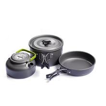 เครื่องครัวCampingกลางแจ้งTablewareหม้อปิกนิกCanteen Survivalเดินป่าทหารหม้อไอน้ำทอดชุดกาน้ำชากาต้มน้ำช้อนส้อม