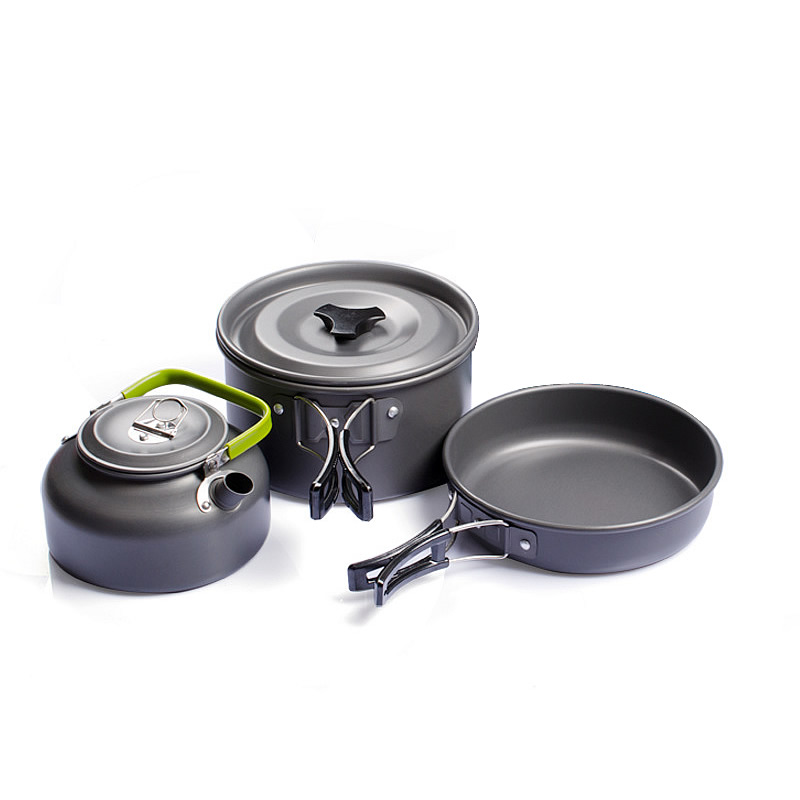 Cookware Outdoor Camping Tableware Pot Picnic Canteen Survival Hiking Military Boiler Frying Teapot Set Kettle Cutlery