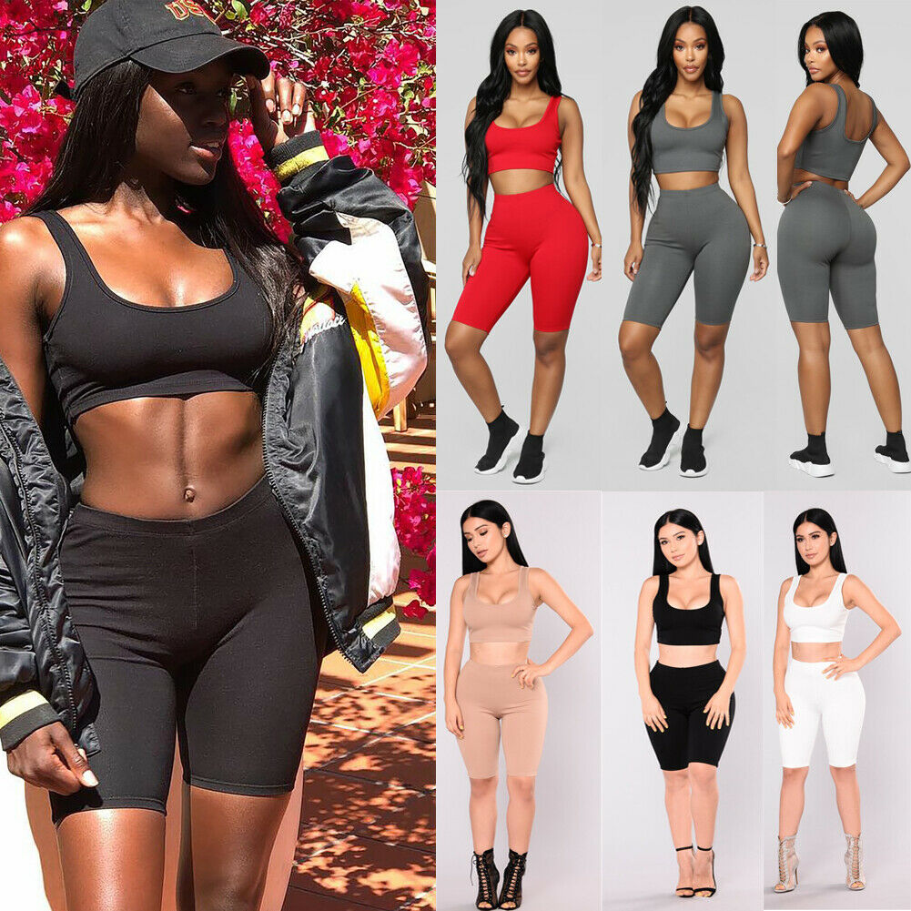 Two Piece Set Outfits Crop Tops And Biker Shorts Set Summer Matching Sets Gym Fitness Sportwear Summer Clothes For Women