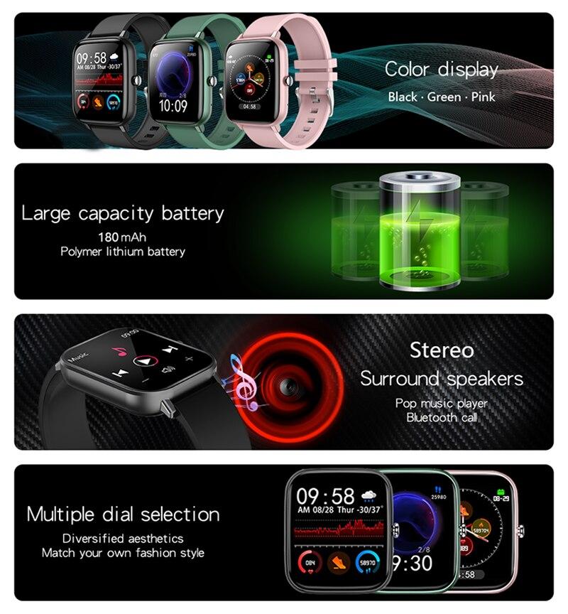 2021 Smart Watch uomo donna pressione sanguigna frequenza cardiaca Fitness Tracker bracciale Sport Smartwatch orologio Smart Clock per Android IOS 2