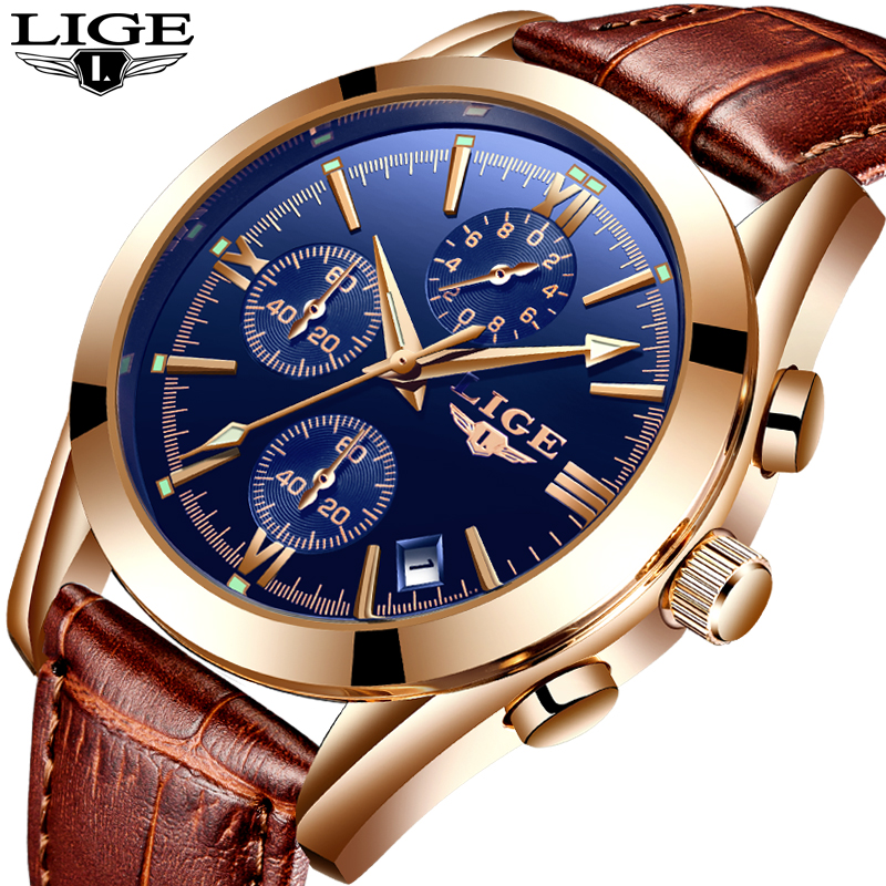 <font><b>LIGE</b></font> Watch Men Sport Quartz Fashion Leather Clock Men Watches Brand Luxury Waterproof Business Military Watch Relogio Masculino image