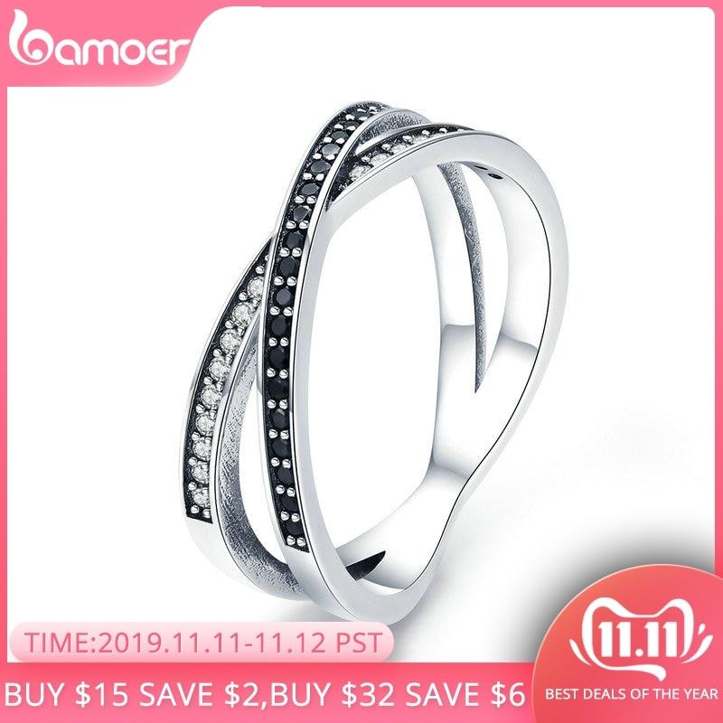 Bamoer authentic 925 prata esterlina cruz geométrica preto & clear cz anéis de dedo para mulher jóias de prata esterlina anel scr439