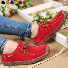 Women Genuine Leather Flats Lace Up Loafers Moccasins Round