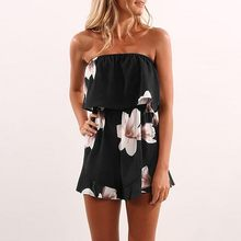 Off Shoulder Boho Style Floral Print Playsuit Women Sleeveless Rompers Elegant Sexy Beach Holiday Jumpsuits Overalls(China)