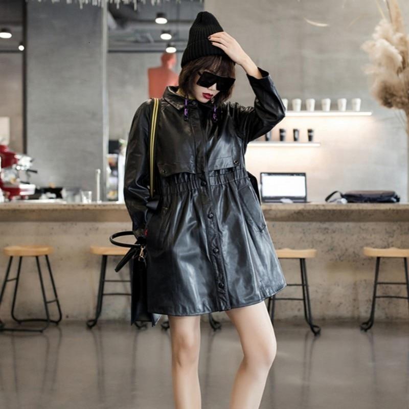 2020 Spring Designer Elastic Waist Sheepskin Genuine Real Leather Long Jackets Women Casual Long Sleeve Leather Coats Streetwear