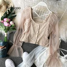 White Ruffle Lace Crop Top Mesh Backless Long Sleeve Beige Sexy Summer Spring Korean Black Short Slim Shirt Women Blouse