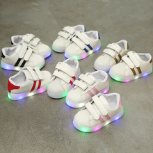 Hook-Loop LED Lighted Comfortable Sports Children Girls Boys Casual Shoes Tennis Kids Sneakers Fashionshoe Stylish