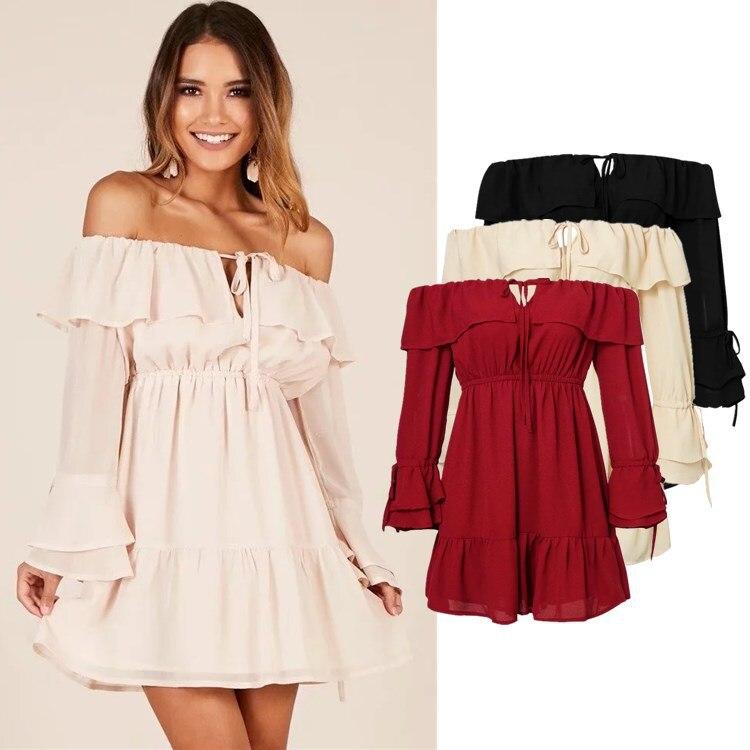 WOMEN'S Dress Hot Selling Off-Shoulder Flounced Holiday Beach Skirt Long Sleeve Lace-up Dress