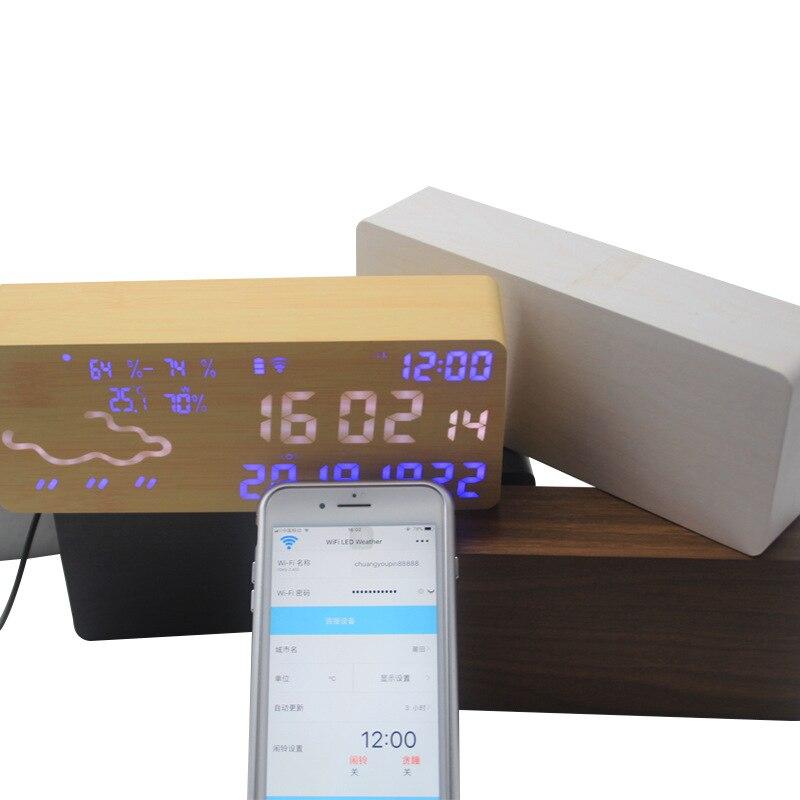 Réveil intelligent numérique électronique prévision météo commande vocale thermomètre hygromètre Wifi connexion Led silencieux Snooze - 5