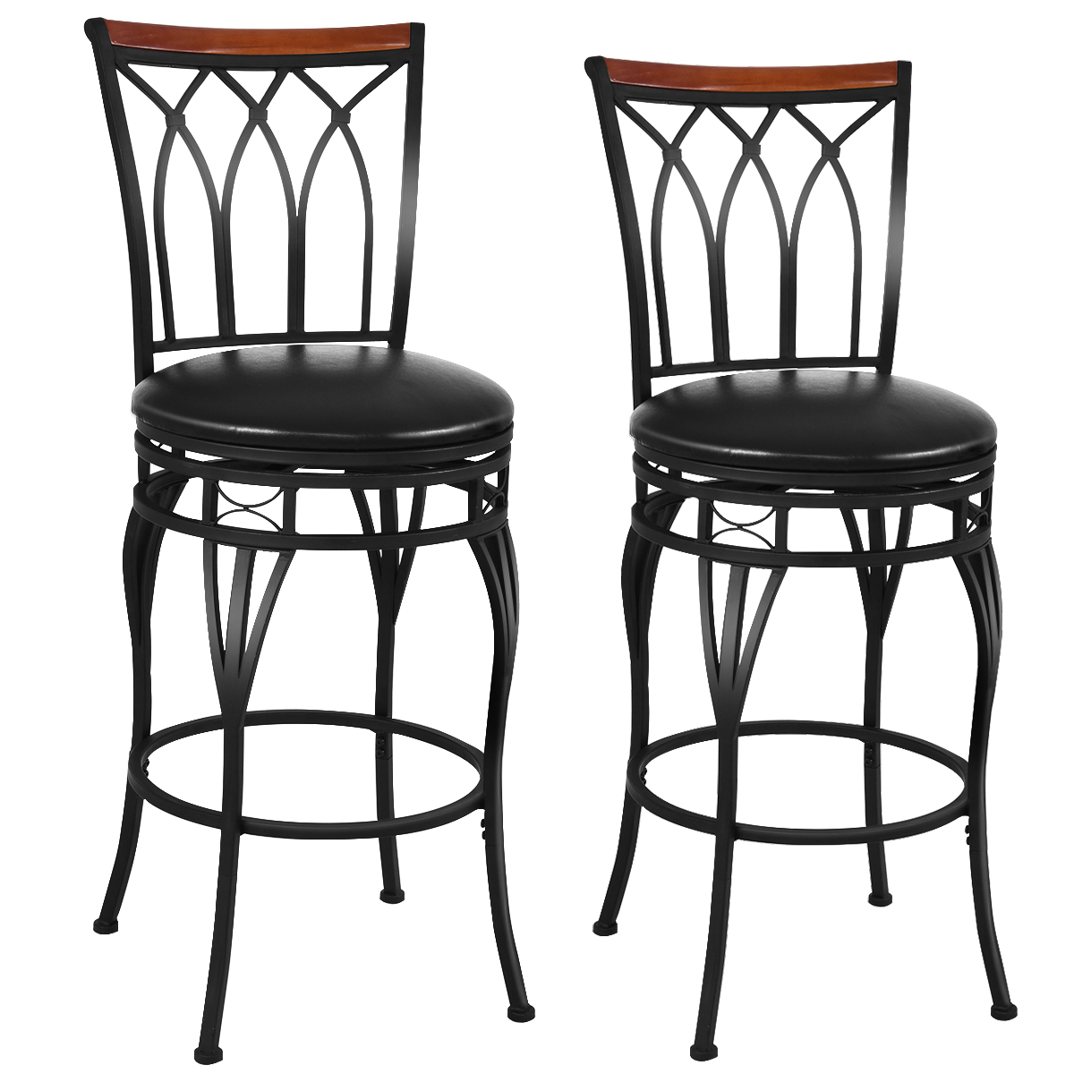 Costway Set Of 2 Vintage Bar Stool 24'' 28.5'' Height Adjustable Bistro Pub Chair