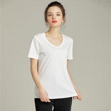 T-shirt en coton mercerisé à manches courtes pour femmes, col rond blanc uni simple et assorti avec tout, demi manches slim et slim, 80