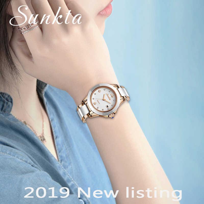 SUNKTA moda kadın saatler gül altın bayanlar bilezik saatler Reloj Mujer 2019New yaratıcı su geçirmez kuvars saatler kadınlar için