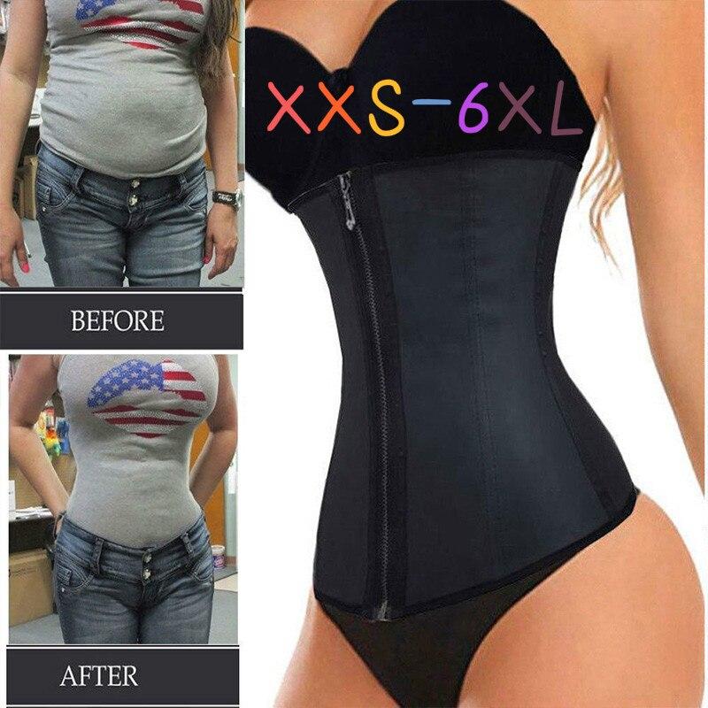 XXS-6XL Corset Body Shaper Latex Waist Trainer Cincher Zipper Underbust Weight Loss Slimming Shapewear Hourglass Belt Women Plus